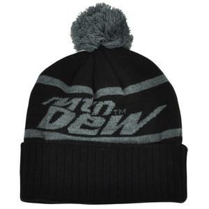 Mountain Dew Word Mark Pom Pom Knit Beanie Cuffed Black Grey Hat Toque Soda Pop