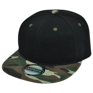Blank Camouflage Camo Flat Bill Snapback Plain Black Solid Adjustable Hat Cap