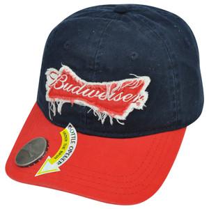 Budweiser Bud Beer Cerveza Raw Edge Distressed Bottle Opener Snapback Hat Cap