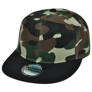 Camouflage Camo Snapback Flat Bill Cap Hat Adjustable Green Plain Solid Army