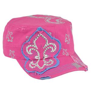 Fleur de Lis Symbol Rhinestone Gems Pink Women Velcro Fatigue Hat Cap Distressed
