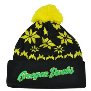NCAA Zephyr Oregon Ducks Custom Script Snowflake Pom Cuffed Beanie Knit Hat