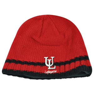 NCAA Lafayette Ragin Cajuns Striped Fleece Cuffless Knit Beanie Winter Hat Toque