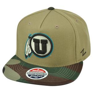 NCAA Zephyr Utah Utes Zuni 5 Panel Camouflage Flat Bill Camo Snapback Hat Cap