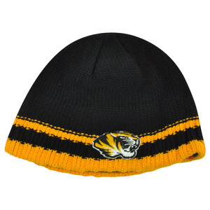 NCAA Missouri Mizzou Tigers Striped Fleece Cuffless Knit Beanie Winter Hat Toque