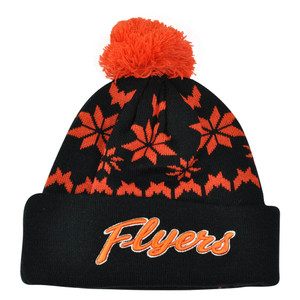 NHL Zephyr Philadelphia Flyers Custom Snowflake Cuffed Beanie Knit Toque Hat