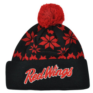NHL Zephyr Detroit Red Wings Custom Snowflake Cuffed Beanie Knit Toque Hat Pom