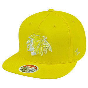 NHL Zephyr Chicago Blackhawks Popsicle Neon Yellow Snapback Flat Bill Hat Cap
