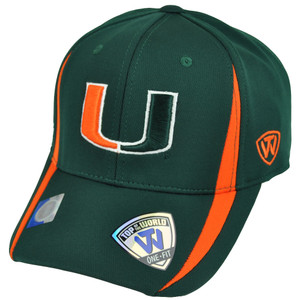 NCAA Top of the World Miami Hurricanes Canes UM Accent Flex Fit One Size Hat Cap