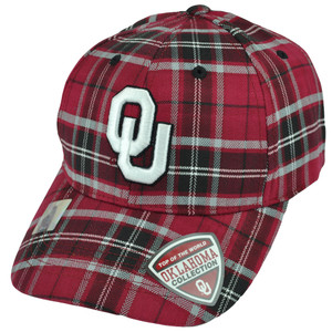 NCAA Top of the World Oklahoma Sooners Plaid Maroon Adjustable Velcro Hat Cap