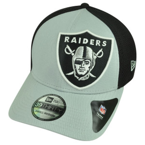 NFL New Era 3930 Oakland Raiders Flex Fit Small Medium Logo Blimp Neo Hat Cap