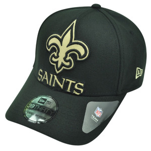 NFL New Era 3930 New Orleans Saints Flex Fit Medium Large Magnifier Hat Cap Blk