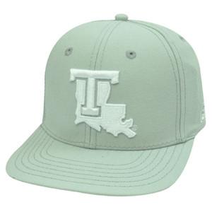 HAT CAP LOUISIANA TECH LTU BULLDOGS YOUTH KIDS GRAY WHITE FITTED 6 3/4 FLAT BILL