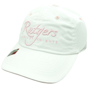 NCAA  Rutgers Scarlet Knights White Ladies Cut Garment Washed Sun Buckle Hat Cap
