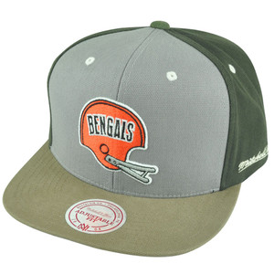 NFL Mitchell Ness NJ38 Tri Green Snapback Flat Bill Hat Cap Cincinnati Bengals
