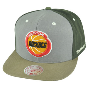 NBA Mitchell Ness Houston Rockets NJ14 Tri Green Snapback Flat Bill Hat Cap HWC