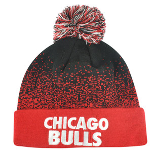 NBA Mitchell Ness Title Knit KM11 Cuffed Pom Pom Beanie Chicago Bulls HWC Skully
