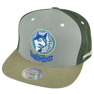 NBA Mitchell Ness Minnesota Timberwolves NJ14 Tri Green Snapback Flat Bill Hat