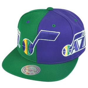 NBA Mitchell Ness NK27 Spilt HWC Hat Cap Snapback 2 Tone Utah Jazz Flat Bill