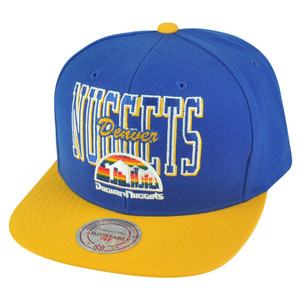 NBA Mitchell Ness Denver Nuggets NZC83 Reverse Stack Snapback Flat Bill Hat Cap