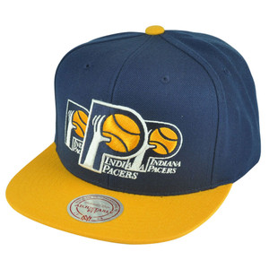 NBA Mitchell Ness HWC Indiana Pacers NP57 Triple Stack Logo Snapback Hat Cap
