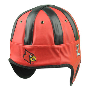 NCAA Louisville Cardinals Helmet Head Game Day Faux Leather Red Hat Cap Cards