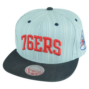 NBA Mitchell Ness NU90 Textured Stripe Denim Snapback Hat Philadelphia 76ers