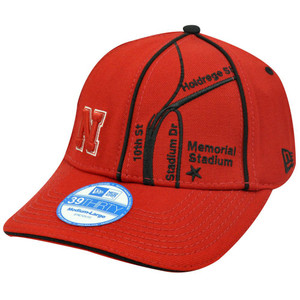 NCAA Nebraska Corn Huskers Stretch New Era Flex Fit Med Large Red Map Hat Cap