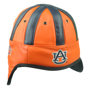 NCAA Auburn Tigers Helmet Head Game Day Faux Leather Red Hat Cap Two Tone AU