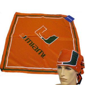 NCAA Miami Hurricanes UM Jersey Sports Bandana Fandana Scarf Orange Green White