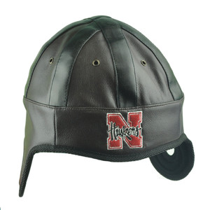 NCAA Nebraska Cornhuskers Helmet Head Game Day Faux Leather Hat Cap Huskers