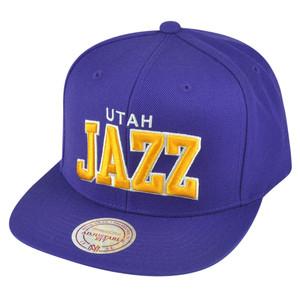 NBA Mitchell Ness Utah Jazz NZH88 Purple Arch Solid Snapback Flat Bill Hat Cap