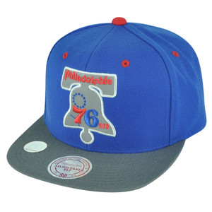 NBA Mitchell Ness NT94 XL Logo Snapback HWC Hat Cap Flat Bill Philadelphia 76ers
