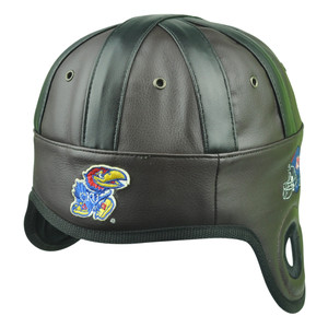 NCAA Kansas Jayhawks Helmet Head Game Day Faux Leather Hat Cap Brown One Size