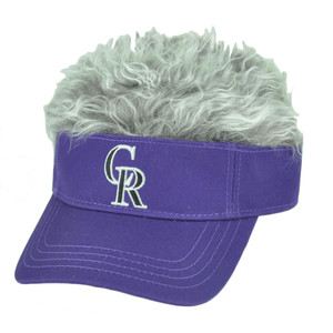 MLB Colorado Rockies Creed Flair Purple Grey Hair Visor Faux Fur Velcro Hat Cap