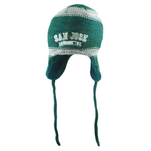 NHL San Jose Sharks Bosworth Ear Flap Fleece Knit Beanie Peruvian Laplander Hat