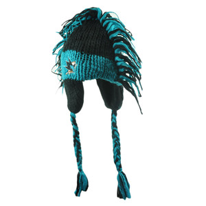 NHL San Jose Sharks Ashton Mohawk Ear Flaps Fan Winter Peruvian Knit Hat Beanie