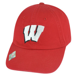 NCAA Wisconsin Badgers Fan Garment Wash College Logo Buckle Strapback Hat Cap