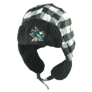 NHL San Jose Sharks Alcide Plaid Trapper Bomber Fur Knit Buckle Winter Hat Black