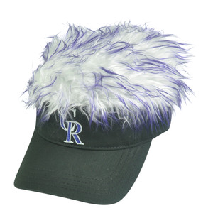 MLB Colorado Rockies Creed Flair Purple Hair Visor Faux Fur Fan Velcro Hat Cap