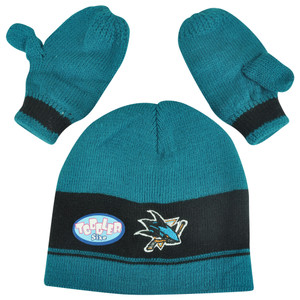 NHL San Jose Sharks Baby Rae Infant Glove Knit Set Cuffless Winter Beanie Hat