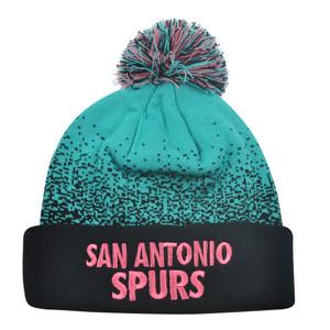 NBA Mitchell Ness Title Knit KM12 Cuffed Pom Pom Beanie San Antonio Spurs HWC