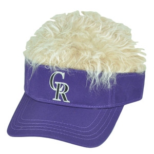 MLB Colorado Rockies Creed Flair Purple Beige Hair Visor Faux Fur Velcro Hat Cap