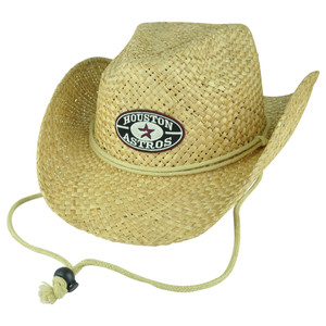MLB Houston Astros Hoss Cowboy Wide Brim Woven Straw Hat One Size Fedora Khaki
