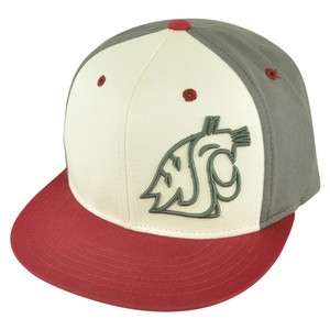 NCAA Washington State Cougars Nagelle Flat Bill Velcro Strapback Grey Hat Cap