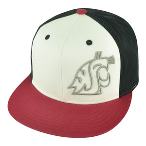 NCAA Washington State Cougars Nagelle Flat Bill Velcro Strapback Black Hat Cap