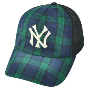 MLB American Needle NY New York Yankees Faded Plaid Mesh Snapback Slouch Hat Cap