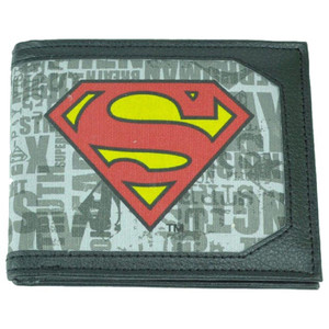 DC Comics Superman Man Of Steel Superhero Canvas Bi Fold Mens Money Wallet Black