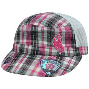 NCAA Wyoming Cowboys Mesh Women Military Plaid Garment Wash Velcro Sassy Hat Cap