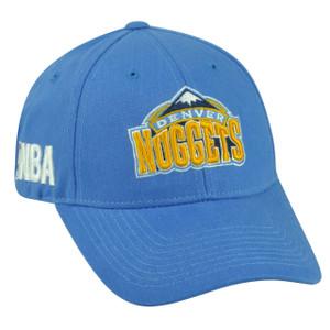 NBA Denver Nuggets Velcro Hat Cap Adjustable Light Blue HWC Masoli Game Day Fan